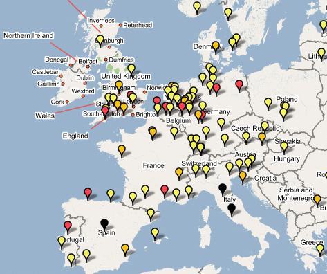 Virenverteilung in Europa