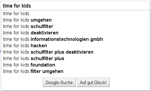 Suchvorschläge von Google für Time for kids