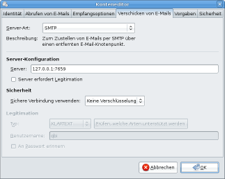 Einstellungen des SMTP-Servers in Evolution