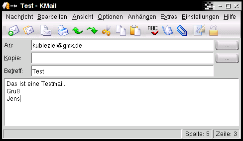Testmail mit KMail