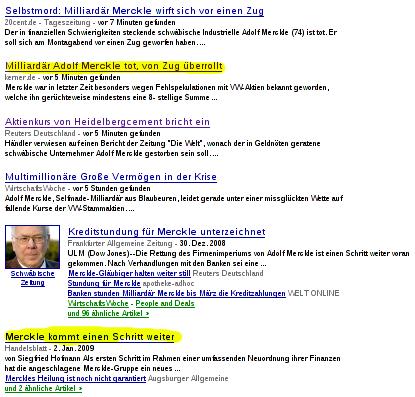Ausschnitt aus Google News