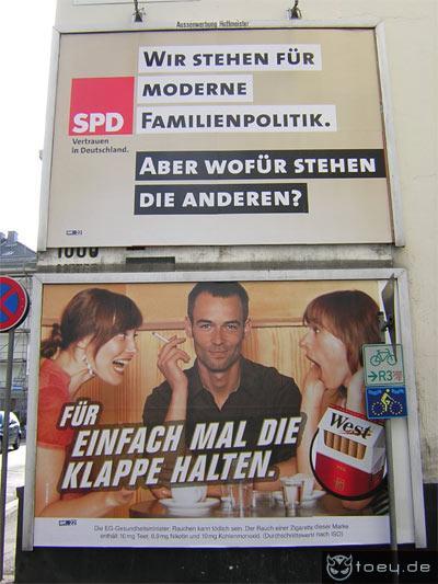 Werbung von SPD und West